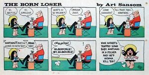 The Born Loser by Art Sansom - lot of 6 color Sunday comic pages, July/Aug. 1975