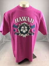 RARE Vintage Hawaii State flower puffy paint pink Souvenir tshirt Adult XL USA