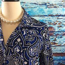 Jones NY Women's Blouse Top Paisley Button Down Shirt Tie Waist Cotton Casual L