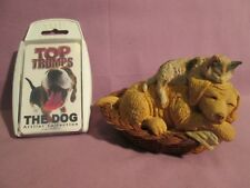 """PAW PRINTS """"SLEEPING CAT & DOG"""" FIGURINE + TOP TRUMPS DOGS -1993,Ornament,Spares"""
