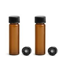144 Pcs Amber 1 Dram Glass Vials With Plastic Cone Lined Cap 15x45mm