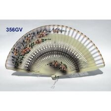 Hand fan in wood mustard-brown, white cotton with designs floral patterns. in