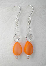 Orange shell and clear glass bead on silver tone hooks Drop earrings Approx. 5cm
