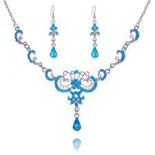 Silver Blue Dangle Wedding Rhinestone Earrings Set Pendant Necklace Chain NWT