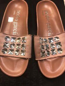 Pedro Garcia Amery  Satin Crystal Embellished Slide Sandals Women's Sz 37 M