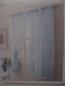 "Simply Shabby Chic Blue Sheer Ruffled Window Panels Drapes Curtains 120"" x 63"""