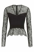 New Yigal Azrouël Illusion Silk Lace Top Size 8 MSRP $690