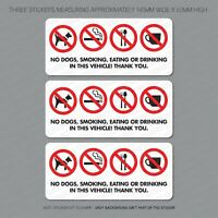 3 x No Dogs Smoking Eating Or Drinking Taxi Stickers Minicab Cab Notice 6305