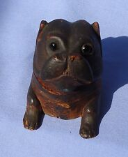 ANTIQUE PUG WOOD INKWELL BLACK FOREST GLASS EYES