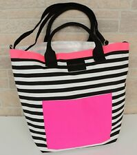 Victorias Secret Large Canvas Tote Bag Striped Black Pink Getaway Travel Beach