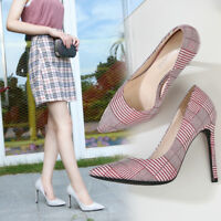 Plus Size Houndstooth Plaided Pumps Drag Queen Men's Heels Fabric Stiletto Shoes