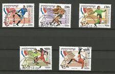 COUPE DU MONDE DE FOOTBALL Royaume du Cambodge 5 timbres oblitérés /T244