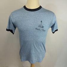 Vtg 80s Biloxi Mississippi Ringer Blue 50 50 Rayon? T Shirt Distressed Thin
