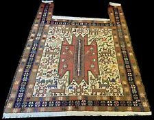 Authentic Hand Woven Hunting Pictorial Sumouk Silk And Wool Area Rug 4 x 3 Ft