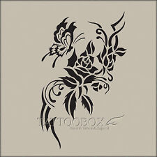 Reusable airbrush tattoo stencils templates - Rose 1 (M size) temporary tattoo