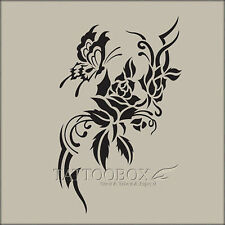 Reusable airbrush tattoo stencil templates - Rose 1 (M size) temporary tattoo
