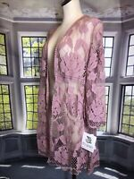 Miss Chievous S/m NWT Pink Lace Crochet Pink Cardigan Duster