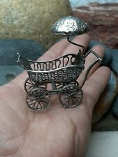 New ListingHuge! 34g Baby Stroller Pram Cradle Bed Miniature Italy 800 Sterling Silver Gift