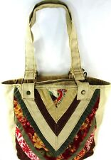Levis Women Canvas Corduroy Tote Bag Brown Beige Red Green Floral Brass Rivets