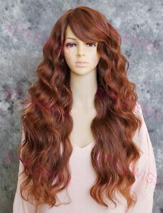 Dark/Red Auburn Mix Long Loose Curls Heat OK Human Hair Blend Wig EVBC 33/130