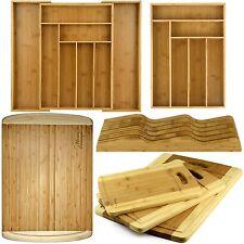 NEW Premium Organic Bamboo Kitchen Set Knife Block Cutting Board Tray Organizer