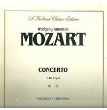 """MOZART """"CONCERTO IN B FLAT MAJOR FOR BASSOON AND PIANO"""" KALMUS PB SCORE W/PART"""