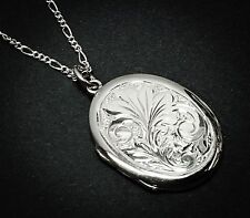 Sterling Silver ( 925 )  Oval Locket and Chain,  Hand Engraved Design.