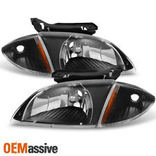 Fit 2000 2001 2002 Chevy Cavalier Black Headlights w/ Corner Signal Lights 4pcs