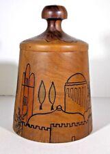 VINTAGE CARVED OLIVE WOOD HAND PAINTED OLD JERUSALEM SALT KEEPER / TRINKET BOX