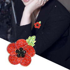 New Poppy Brooches Pin Enamel Badges Broach Gold Plated Red Diamante Badge Gift