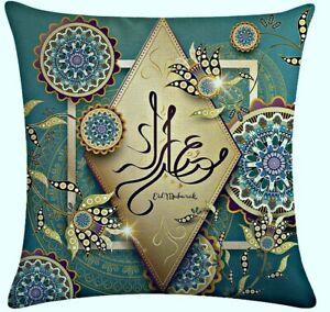 BLUE Eid Mubarak Pillow Covers Hijab.17 x 17 inch Decorative Linen Pillow Covers