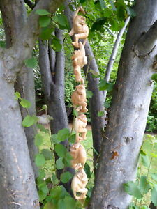 Hanging Monkey Wood Carving Handmade Monkeys Set Of 6..