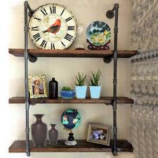 Vintage Rustic Iron Pipe Shelf Wall Bookshelf Storage Floating Shelving Bracket