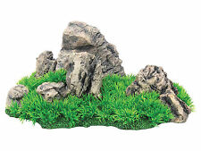 Large Rocky Mound with Grass FIsh Tank Aquarium Reptile Vivarium Ornament