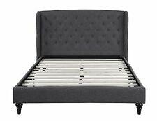 Classic Dark Grey Box-Tufted Shelter Bed Frame - Queen