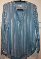 Blue White Top Striped Shirt Grandpa Style Long/Sl  Hi Low Hem Cotton On XS 8 10