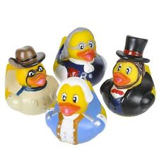 4 Count Us Historical Figure Style Rubber Ducks 2 Inches Tall Toy Prank Gag