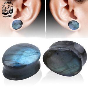 Pair Ear Gauges Organic Labradorite Stone Teardrop Ear Plugs Ear Flesh Expanders