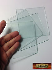 """M01497 MOREZMORE 4 Square Glass Tiles Pieces Craft Clear Simple 4"""" x 4"""" 4x4 A60"""