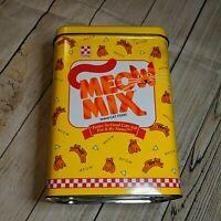 Purina MEOW MIX TIN Collectible 1996 Tin Cat Food Canister Tin Vintage Kitty Tin