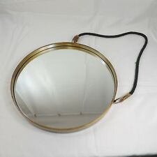 "Round Metal & Leather Hanging Mirror 15"" from Anthropologie"