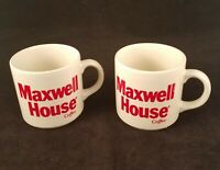 Maxwell House Vintage Coffee Mugs England White Ceramic Red Lettering Lot Of Two