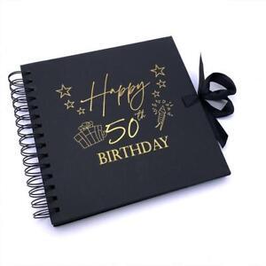50th Birthday Black Scrapbook Photo album With Gold Script Present Design