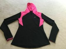 Womens small NIKE RUNNING long sleeve stretchy hoodie with thumbholes black Pink
