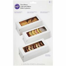 White Treat Boxes Cake Cookie Box 3 Ct Dessert Party Package Display Bring Home