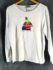 Quacker Factory M White Knit Top Shirt Santa Christmas