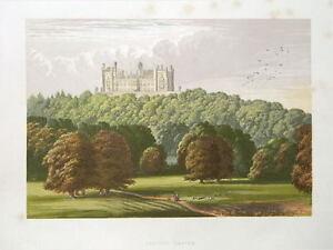 LINCOLNSHIRE,GRANTHAM,BELVOIR CASTLE Antique Print 1870
