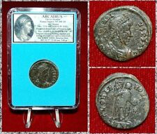 ANCIENT ROMAN EMPIRE COIN OF ARCADIUS EMPEROR HOLDING LABARUM AND GLOBE