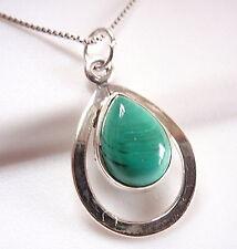 Malachite 925 Sterling Silver Teardrop in Hoop Pendant New