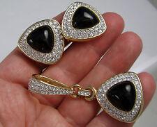 Vintage Swarovski SAL Large Gold Glossy Black Crystal Pendant Clip Earrings Set